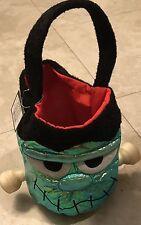 New Frankenstein Head Trick Or Treat Candy Bag Sack Halloween Iridescent Bucket