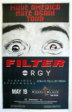 """Filter / Orgy """"Make America Hate Again Tour"""" 2016 San Diego Concert Poster"""