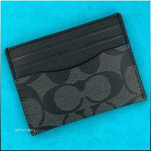 COACH Black Signature Canvas Leather Slim ID Card Case Wallet / NWT