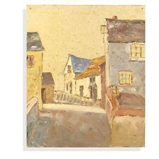 Retro Impressionist Impasto Townscape Oil Painting Saint Ives Cottage Street
