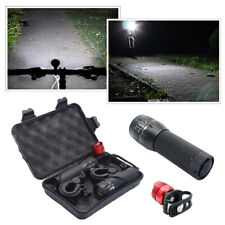 2x CREE Q5 LED Bike Bicycle Cycle Zoomable Torch Front Lights+Aluminum Rear Lamp