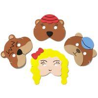 4 Foam Goldilocks & Bears Masks - Fancy Dress Story Telling Childrens Masks