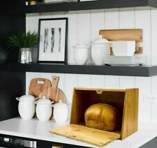 WOOD BREAD BOX BIN STORAGE BOX WITH LIFT UP OR DROP DOWN LID BAMBOO WOOD