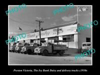 OLD 8x6 HISTORIC PHOTO OF PRESTON VIC IVY BANK DAIR FACTORY & TRUCKS c1950s
