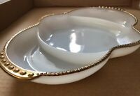 Vintage Fire-King Oven Ware White Milk Glass with Gold Trim Serving Dish, USA