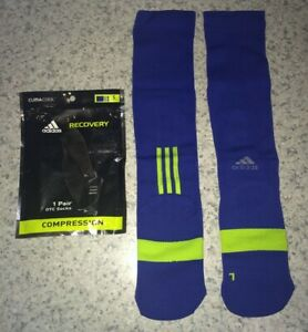 ADIDAS Blue Lime Muscle Recovery Compression Climacool OTC Socks NEW Youth 13-4