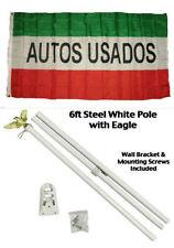 3x5 Advertising Autos Usados Red White Green Flag White Pole Kit Set 3'x5'