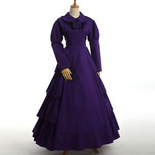 Vintage Victorian Long Dress Lady Reenactment Costume Ball Gown Gothic