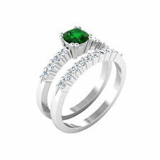 Natural 1.00 Ct Round Cut Diamond Emerald Gemstone Ring 14K White Gold Size M