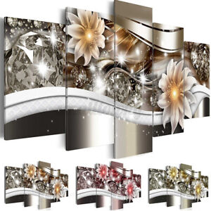 5Pcs Unframed Art Flower Canvas Print Oil Painting Picture Home Wall Decor Craft
