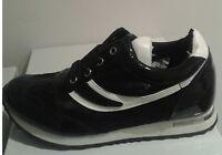 Zapatillas deportivas negros encaje para mujer