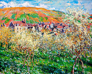 Flowering Plum Trees A1+ by Claude Monet High Quality Canvas Print