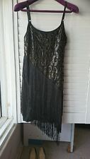 1920's Style Gatsby Black Sequined Flapper tassel dress wedding Christmas party