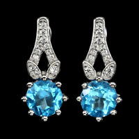 Elegant Round Cut 7mm Top Swiss Blue Topaz White Cz 925 Sterling Silver Earrings