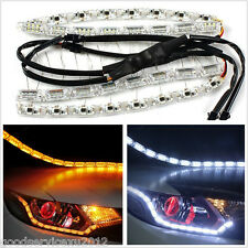 2 X Flexible Tear Eye Amber&White LED Car SUV Daytime Running Light Signal Lamps
