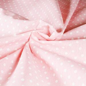 Tessuto Stoffa Cotone Fantasia Pois Bianco Fondo Rosa Chiaro Taglio 280x280 cm