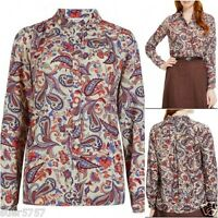 New Ex M&S Ladies Multi Colour Paisley Crepe Long Sleeve Casual Top Size 14 - 24