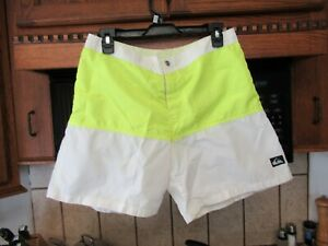1990's vintage Quiksilver Nylon Neon green swim surf board shorts Men's 31 w