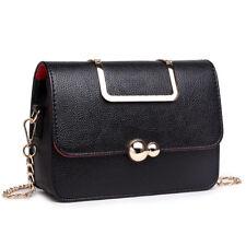 Ladies Girls Fashion PU Leather Handbag School Shoulder Bag Satchel Exquisite Black-1762