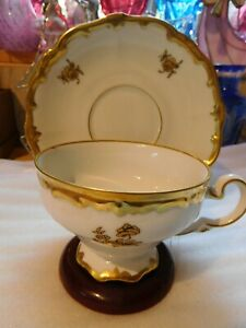 VINTAGE WEIMAR FOOTED TEA CUP AND SAUCER MADE IN GERMANY PATTERN KATHARINA