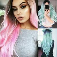Women Lady Gradient Color Long Curly Wavy Wig Hair Hairpieces Cosplay Party Wigs