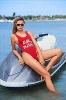 "Black ""Get Salty"" High Leg One Piece Swimsuit (Red also available)"