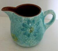 Vintage Stangl Pottery Spongeware STARDUST Pitcher Aqua Yellow Daisies 24 ounces