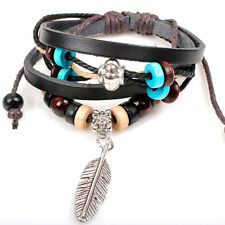 Indian Style Wooden Bead Wrist Bracelet Leather Feather Jewelry