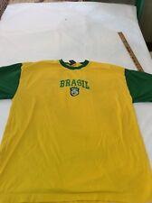 Vintage Brazil Flag Graphic Men's Gold T-shirt 2XL