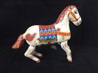Vintage Tin Wind-Up Toy Indian Chief Jumping Horse HAJI JAPAN Original 1950s