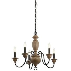 Kichler 5 Light Chandelier Olde Bronze and Wood Tone Farmhouse Beulah 82270