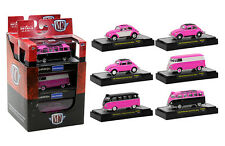 AUTO THENTICS VOLKSWAGEN 6 CARS SET PINK EDITION W/CASES 1/64 BY M2 32500-MJS03