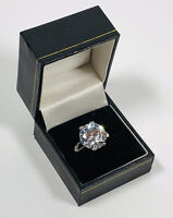 Vintage Ring Silver Tone Crystal Solitaire Sparkly Bold Pretty Costume Size UKP