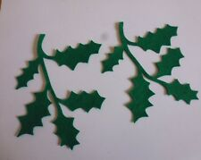 Felt green ex large holly stem x 8 applique, sewing, card making