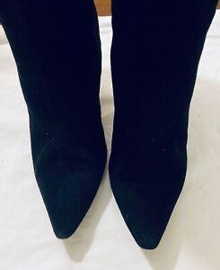 "Manolo Blahnik Women's 40 Black Suede Boots Pointed Toe 4"" Heel"