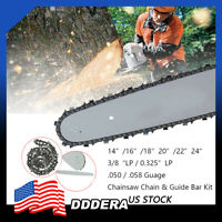 "NEW 14-24"" Chainsaw Blade & Guide Bar Kit .325/ 3/8""LP .050/.058"" Guage US STOCK"