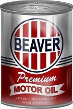 "VINTAGE STYLE METAL SIGN Beaver Premium Motor Oil Can 12""x18"""
