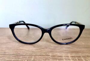 New Chanel Eeglasses cat Eye Frame Black Gold leather Clear Lens case