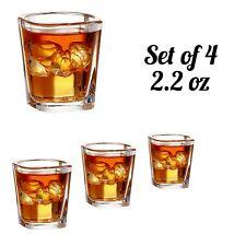 Shot Glasses 4 Piece Set - 2.2 oz Heavy Square Base Bar Style Modern NEW