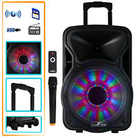 beFree Sound 12 Inch 2500 Watt Bluetooth Rechargeable Portable Party PA Speaker