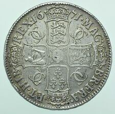 More details for 1671 charles ii 2nd bust crown, v.tertio, british silver coin gf+/avf