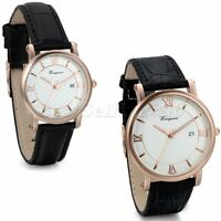 Men Women Rosegold Tone Dial Black Leather Band Date Quartz Wrist Watch+Gift Bag