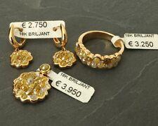 Diamanten-Schmuck Set Ohrringe, Ring, Anhänger mit Diamanten, 18 Karat Gold!