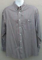 Orvis Mens Button Front Long Sleeve Shirt Multi-Color Button Chest Pocket Large