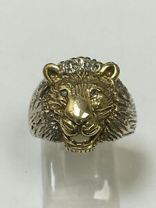 Large Gents 9 Carat Yellow Gold DIAMOND SET LIONS HEAD RING