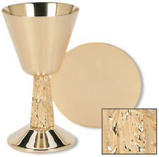 MRT Satin Cup w Cast Vine Stem Brass Gold Plate 13 oz Chalice & Paten Altar Set