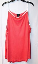 CUTE NEW WOMENS PLUS SIZE 3X CORAL WITH WHITE TRIM HIGH NECK RINGER TANK TOP