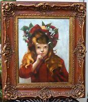 Antique Original Oil Painting 1917 Signed By Artist E. Hartman, Gilt Frame