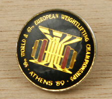 Greece Athens 1989 59th World & 67th European Weightlifting Championship Pin