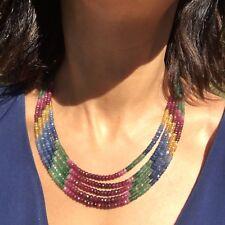 Natural Arcoiris Azul Zafiro Emerald Rubí Cuenta 73g 5Strand Collar para Regalo